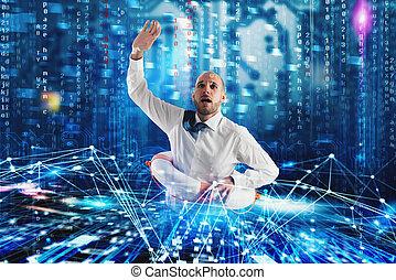 Businessman needs help to surf the internet. Internet exploration problem concept