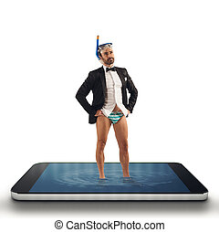 Businessman needs help to surfs on web with his smartphone