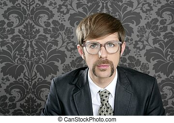 businessman nerd retro glasses portrait - businessman nerd...