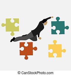 businessman next to puzzles vector illustration.