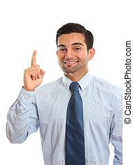 Businessman Number One - A businessman pointing finger,...