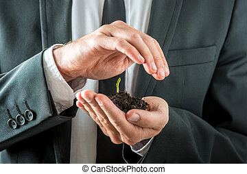 Businessman nurturing a germinating seedling in rich fertile...