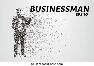 Businessman of the particles. Silhouette of a businessman consists of circles and points. Vector illustration