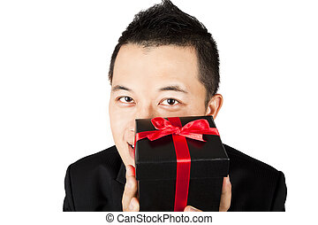 businessman offering a gift
