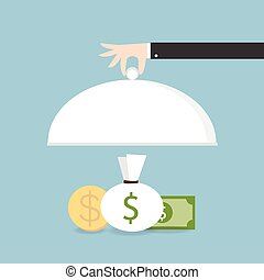businessman offering a money on the serve plate for funding a commercial project or investment in bank deposit, flat design