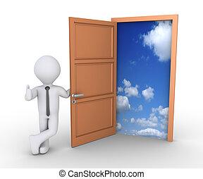 Businessman offering freedom through door