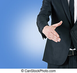 businessman offering hand waving