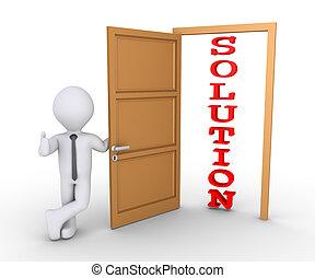 Businessman offering solution through door
