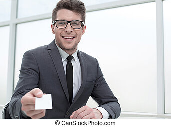 businessman offers you his business card
