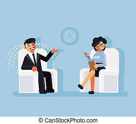 Businessman office worker man character sitting on...