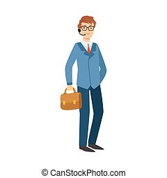 Businessman Office Worker, Part Of Happy People And Their Professions Collection Of Vector Characters