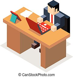 Businessman office workroom with laptop and documents isometric flat design vector illustration
