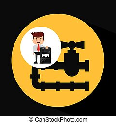 businessman oil industry oil pipe line vector illustration...