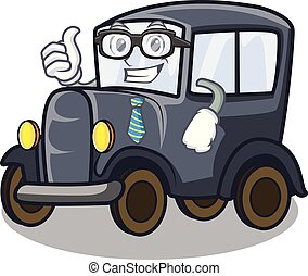 Businessman old car isolated in the cartoon