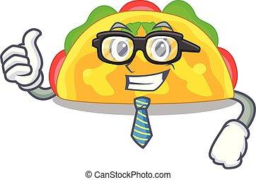 Businessman omelatte is fried on character teflon vector ...