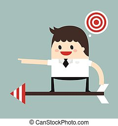 Businessman on a arrow ready to launch to target, flat design, vector