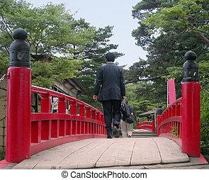 Businessman on a bridge