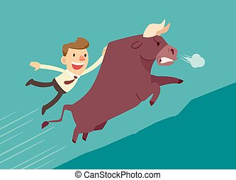 businessman on a bull - businessman hang on bull(market)...