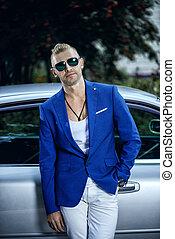 businessman on a car