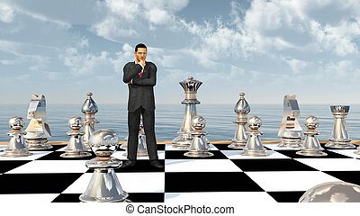 Businessman on a chessboard - Computer generated 3D...