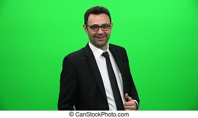 Businessman On A Green Screen Background
