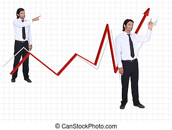 Businessman on a growth chart