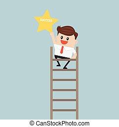 Businessman on a ladder grab star