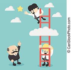 Businessman on a ladder grab the star