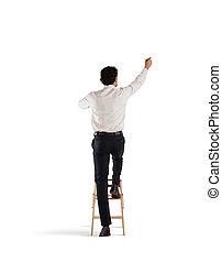 Businessman on a ladder