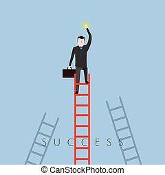 Businessman on a ladder. Success business