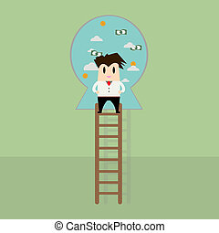 Businessman on a ladder to the success