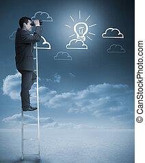 Businessman on a ladder using binoculars