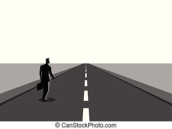 Businessman on a long road