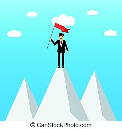 Businessman on a Mountain peak. Employee climbed to the top of the mountain and enjoys victory. success and mission. Flat style.