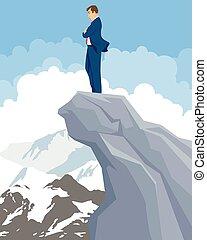 Businessman on a peak