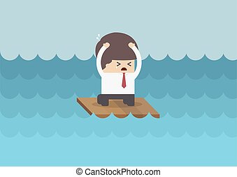 Businessman on a raft in the middle