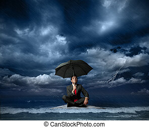 Businessman on a raft in the storm
