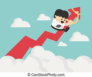 businessman on a red arrow pointing up to sky