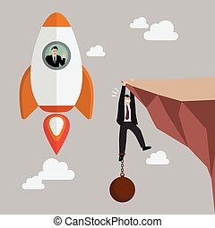 Businessman on a rocket fly pass businessman hold on the cliff with burden. Business concept