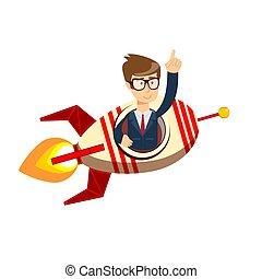 Businessman on a rocket. Startup business concept. Flat cartoon style.