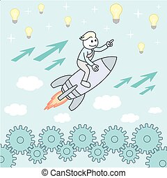 Businessman on a rocket. Startup Business