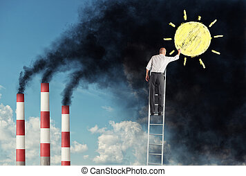 Businessman on a staircase want to change the pollution drawing the sun over the smog