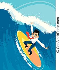 Businessman on a surfboard