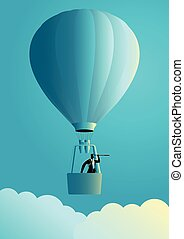 Businessman on air balloon using telescope