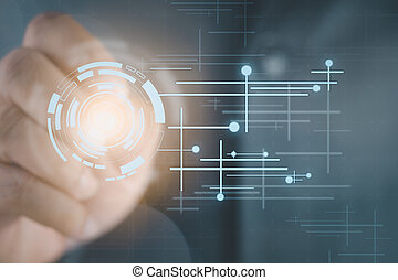 Businessman on background holograms data digital sphere with a pen
