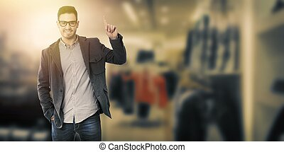 businessman on background pointing