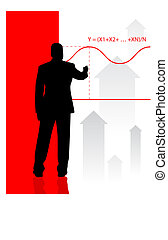 Businessman on background with financial equation