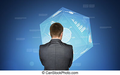 Businessman on background with media icons