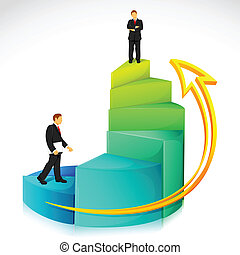 Businessman on Bar Graph - illustration of businessman...