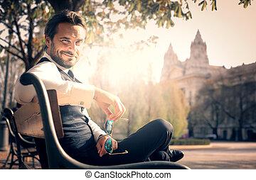 Businessman on bench